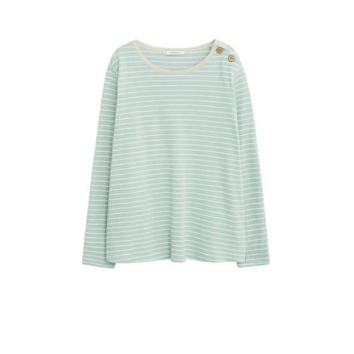 Violeta by Mango gestreept T-shirt lichtblauw/wit