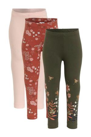 legging - set van 3 met print olijfgroen/brique/roze