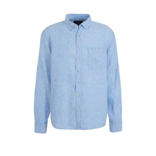 C&A Canda regular fit overhemd met linnen blau