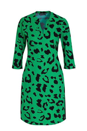 jurk met panterprint groen/zwart