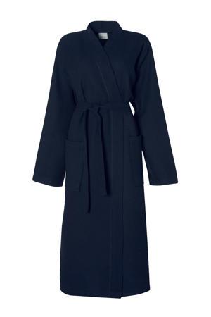 katoenen badjas met wafel structuur donkerblauw