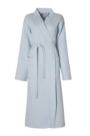katoenen badjas met wafel structuur lichtblauw
