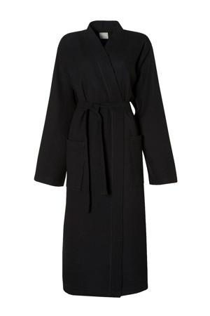 katoenen badjas met wafel structuur zwart