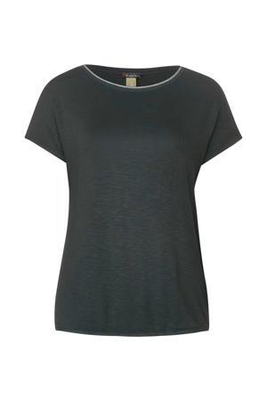 T-shirt Edona met glitters donkergroen