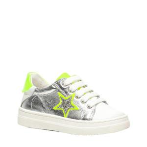 leren sneakers zilver/neon geel