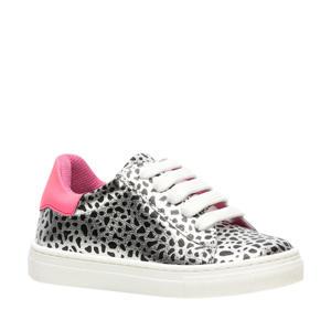 leren sneakers zilver/roze