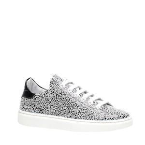 leren sneakers wit/zwart
