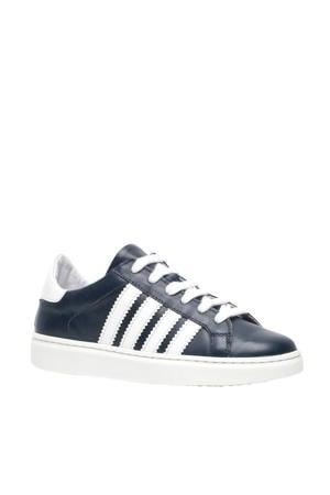 leren sneakers blauw/wit