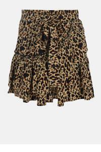 Jill & Mitch by Shoeby rok met panterprint en ruches bruin/zwart, Bruin/zwart