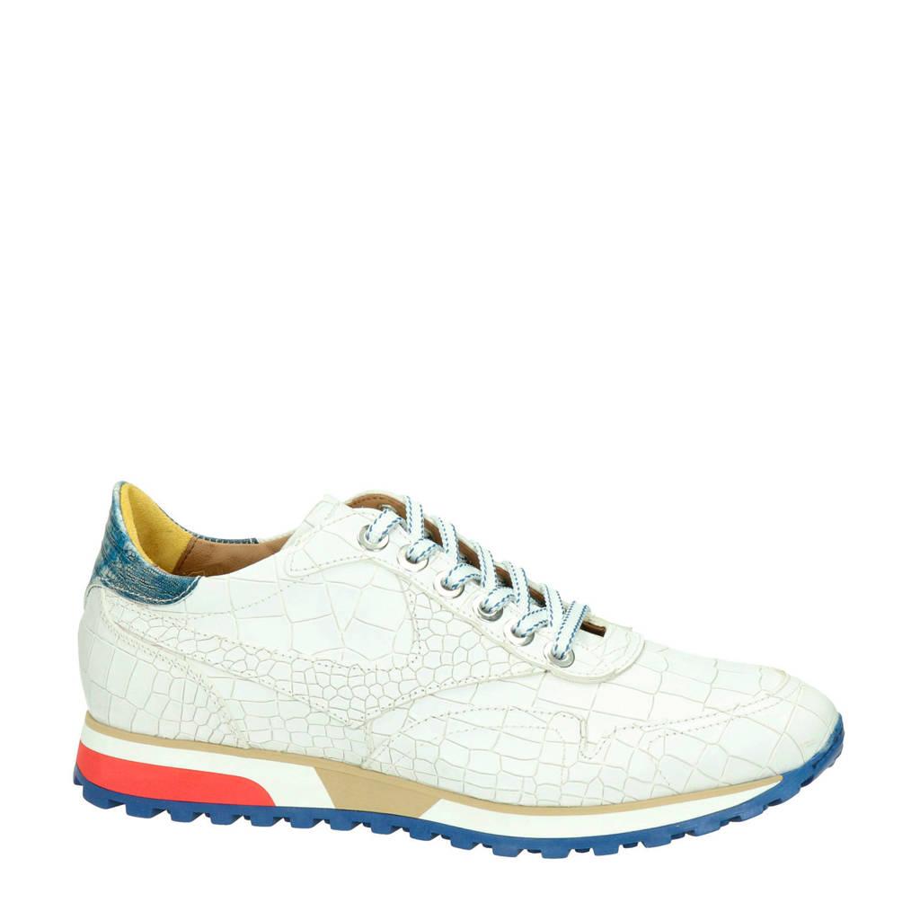 Lorenzi   leren sneakers crocoprint wit, Wit