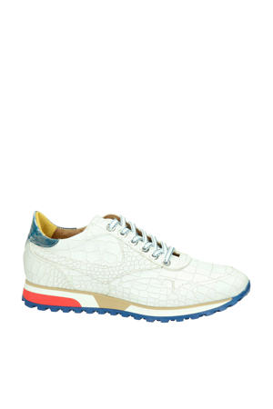 leren sneakers crocoprint wit