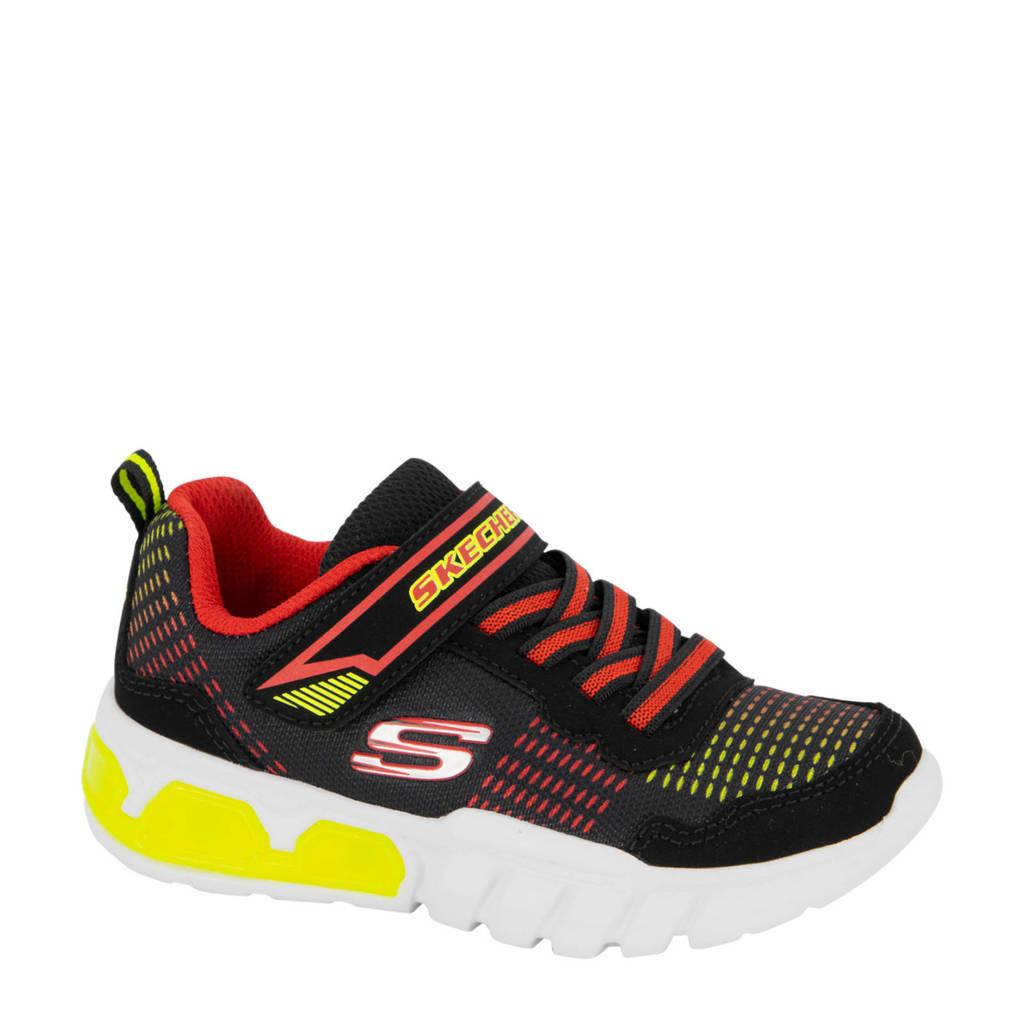 Skechers   sneakers met lichtjes zwart, Zwart/rood/geel