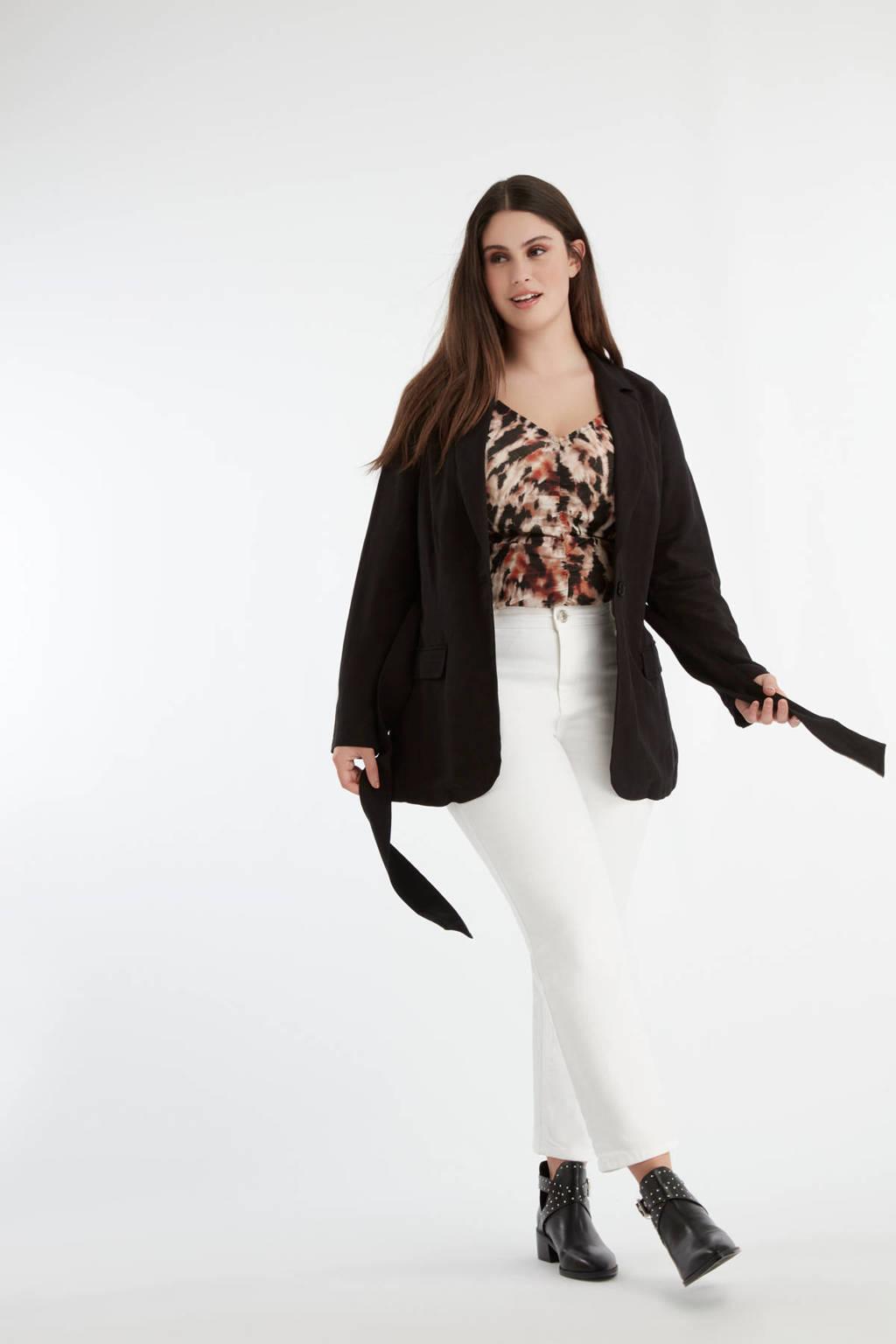 MS Mode blazer met ceintuur zwart, Zwart