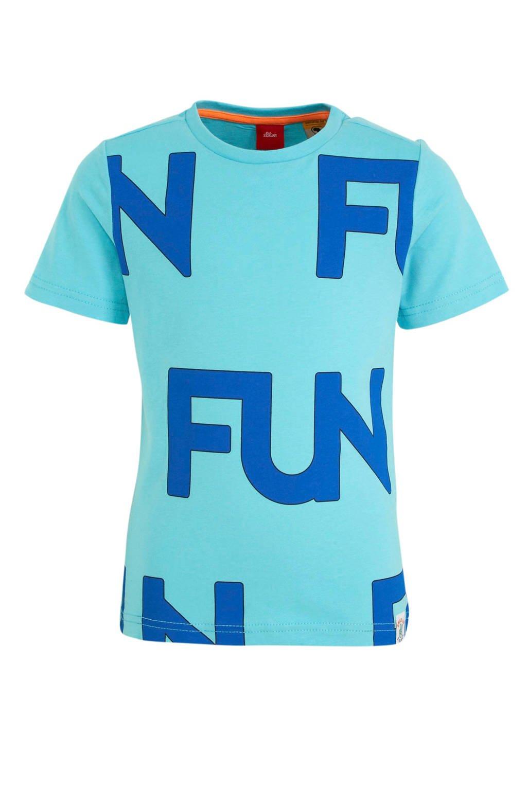 s.Oliver T-shirt met tekst lichtblauw/blauw, Lichtblauw/blauw