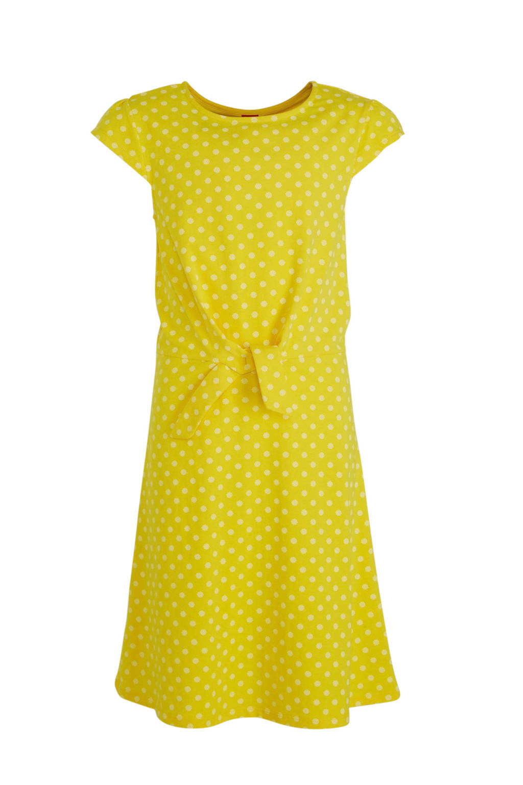 s.Oliver jersey jurk met stippen geel, Geel