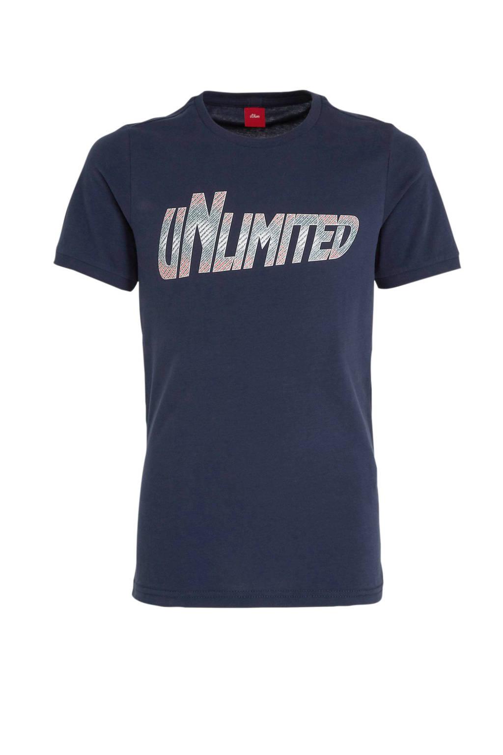 s.Oliver T-shirt met tekst blauw, Blauw