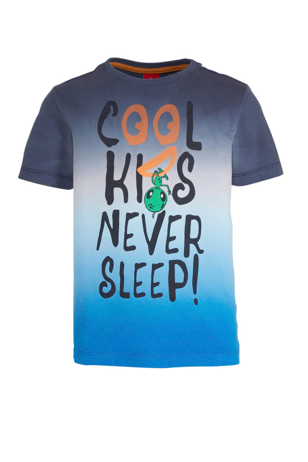 s.Oliver T-shirt met tekst blauw/donkerblauw/oranje