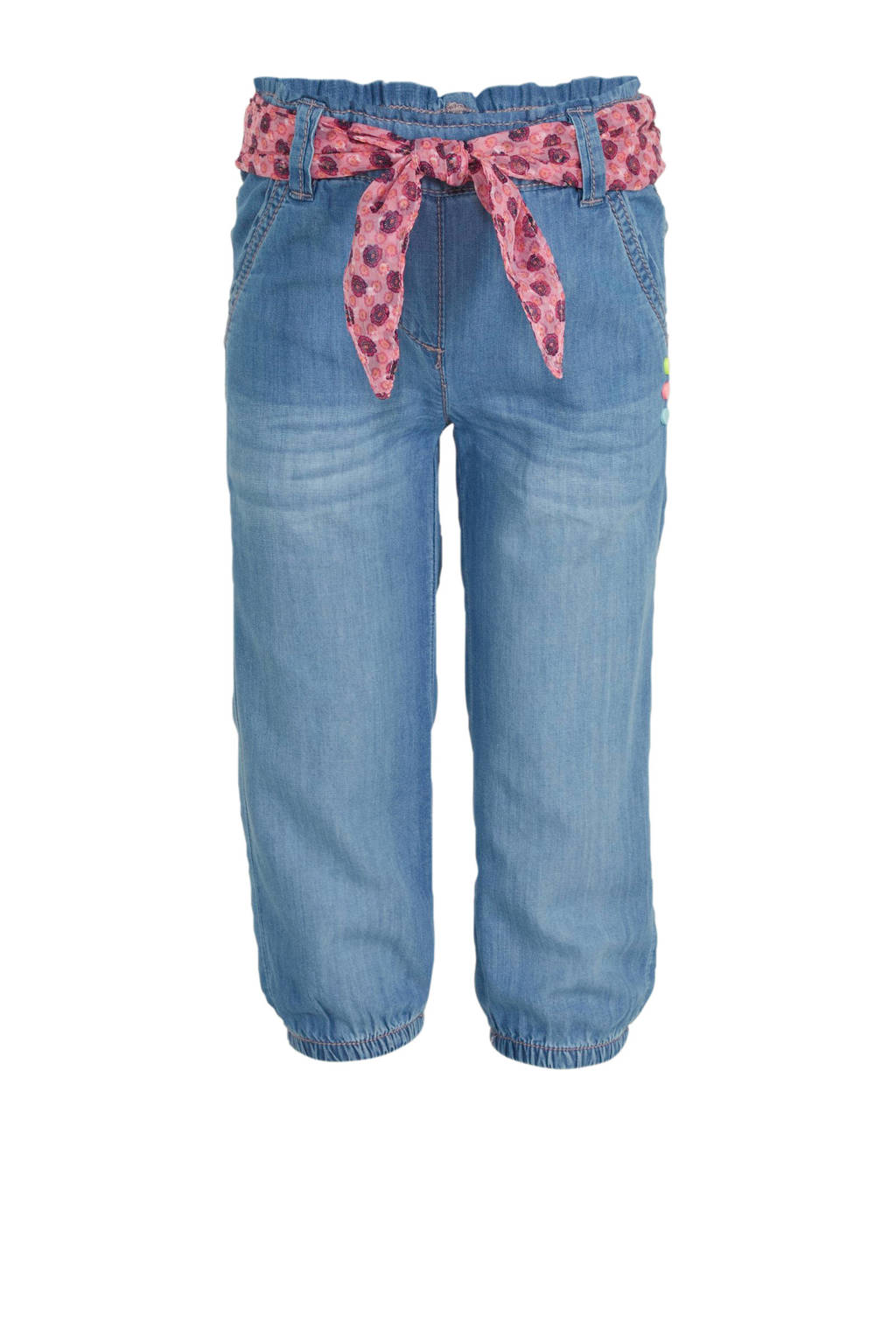 s.Oliver slim fit capri jeans met chiffon ceintuur stonewashed, Stonewashed
