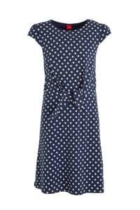 s.Oliver jersey jurk met stippen donkerblauw, Donkerblauw
