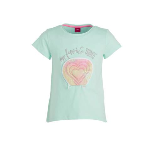 s.Oliver T-shirt met tekst en 3D applicatie lichtb