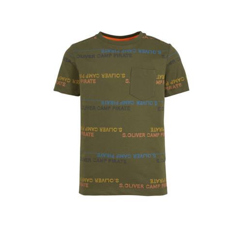 s.Oliver T-shirt met tekst donkergroen