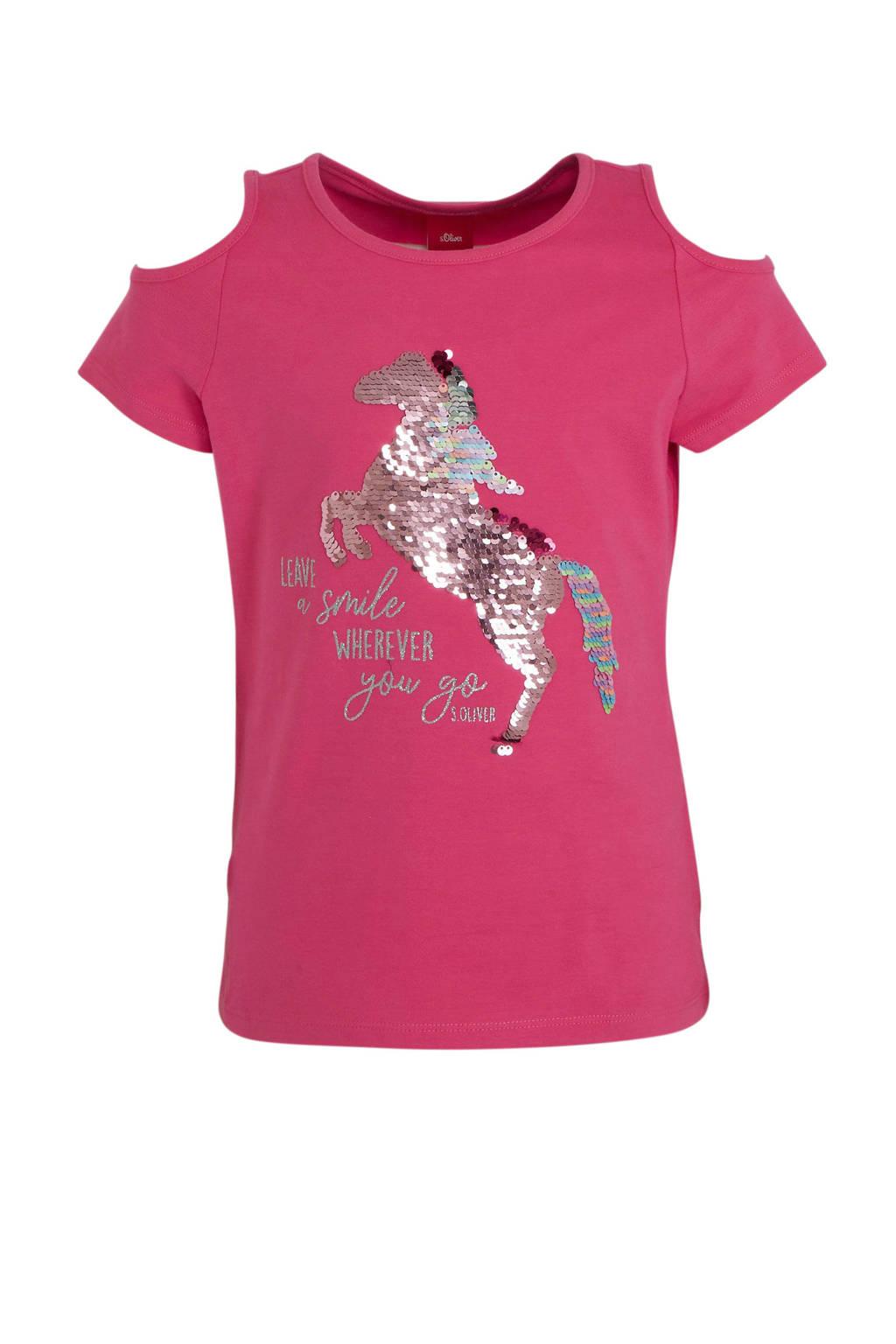 s.Oliver T-shirt met printopdruk en pailletten roze, Roze