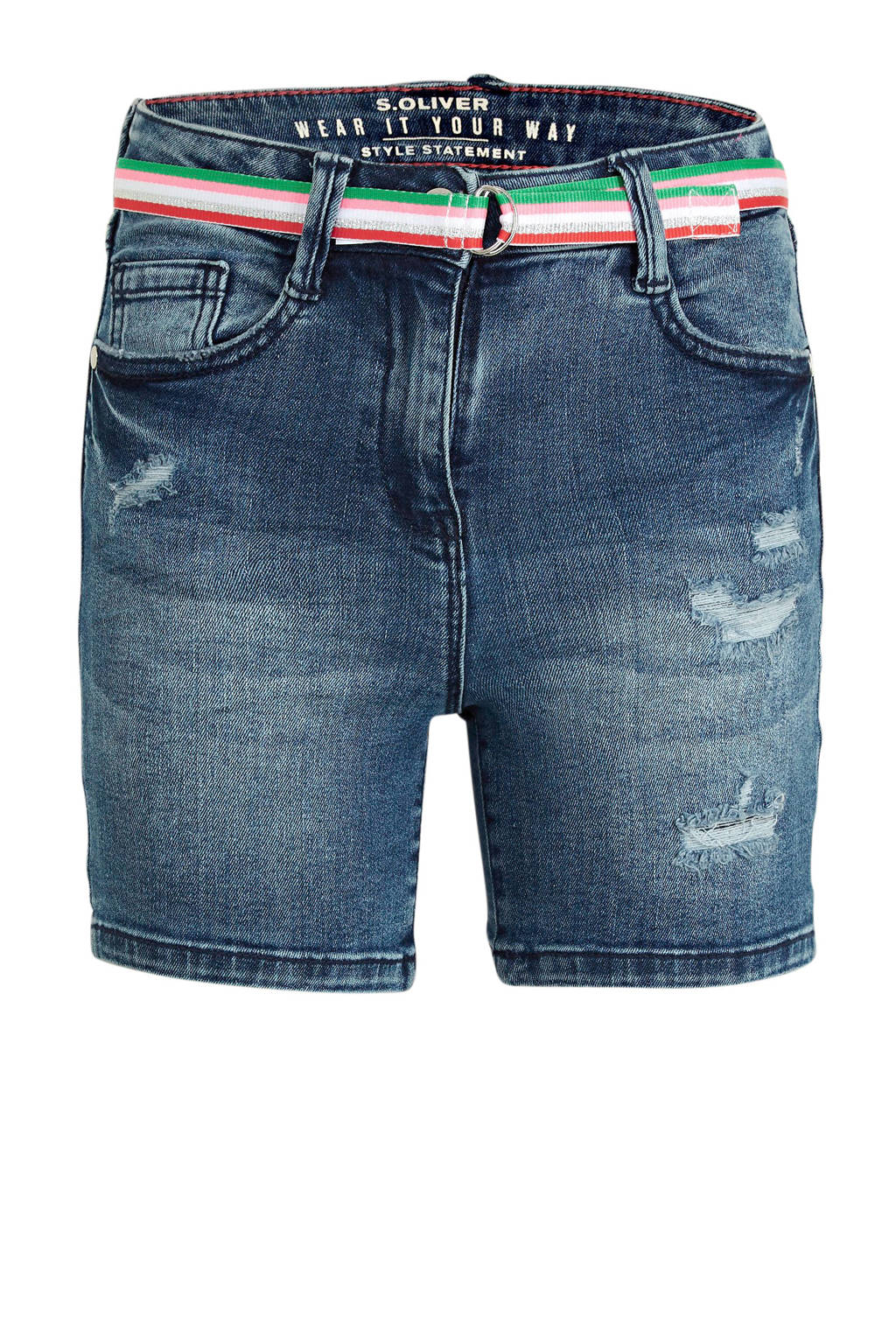 s.Oliver slim fit jeans short stonewashed, Stonewashed
