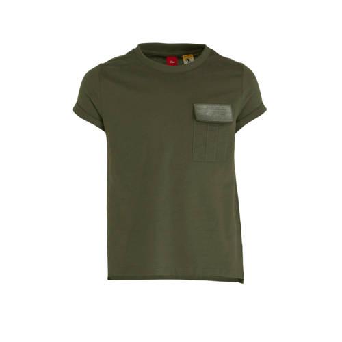 s.Oliver T-shirt met pailletten kaki