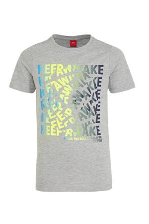 regular fit T-shirt met tekst grijs melange/geel/blauw