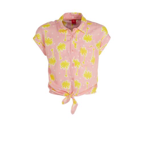 s.Oliver blouse met geknoopt detail lichtroze/geel