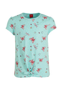 s.Oliver regular fit T-shirt met all over print blauw/roze/wit, Blauw/roze/wit