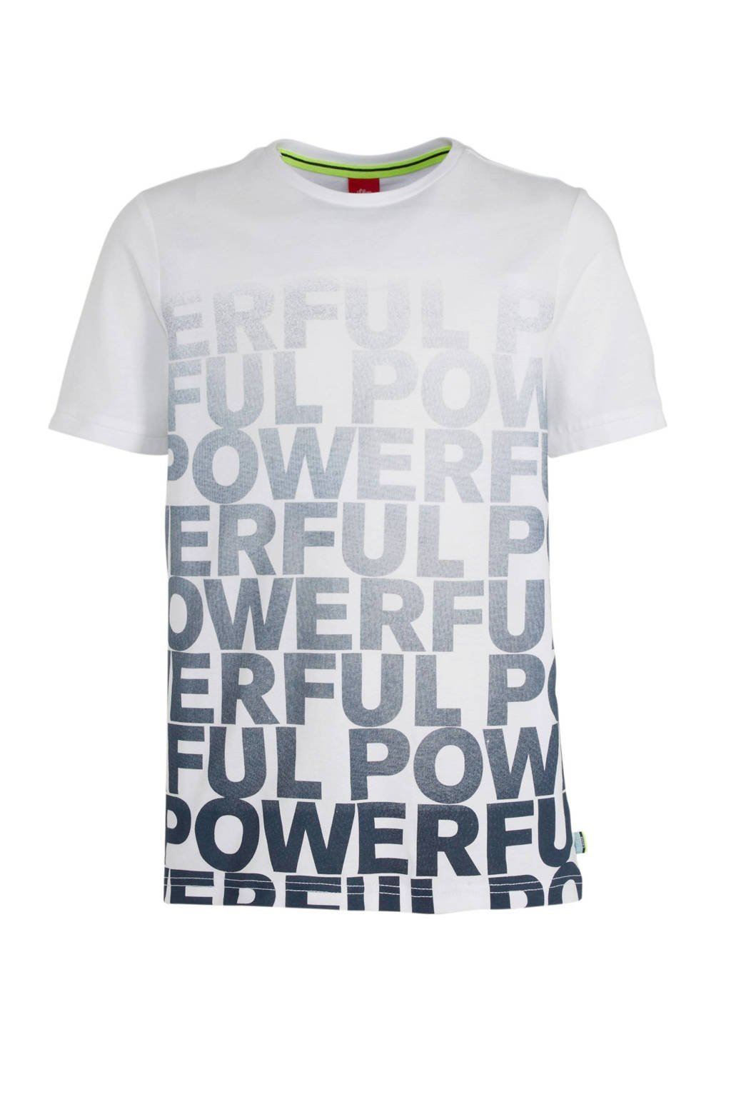 s.Oliver T-shirt met tekst wit/donkerblauw, Wit/donkerblauw