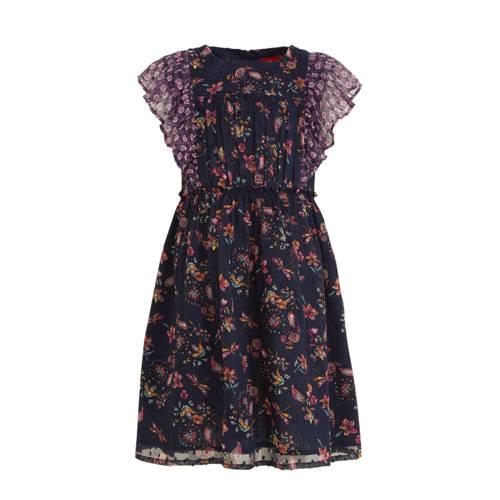 s.Oliver chiffon jurk met ruches donkerblauw/paars