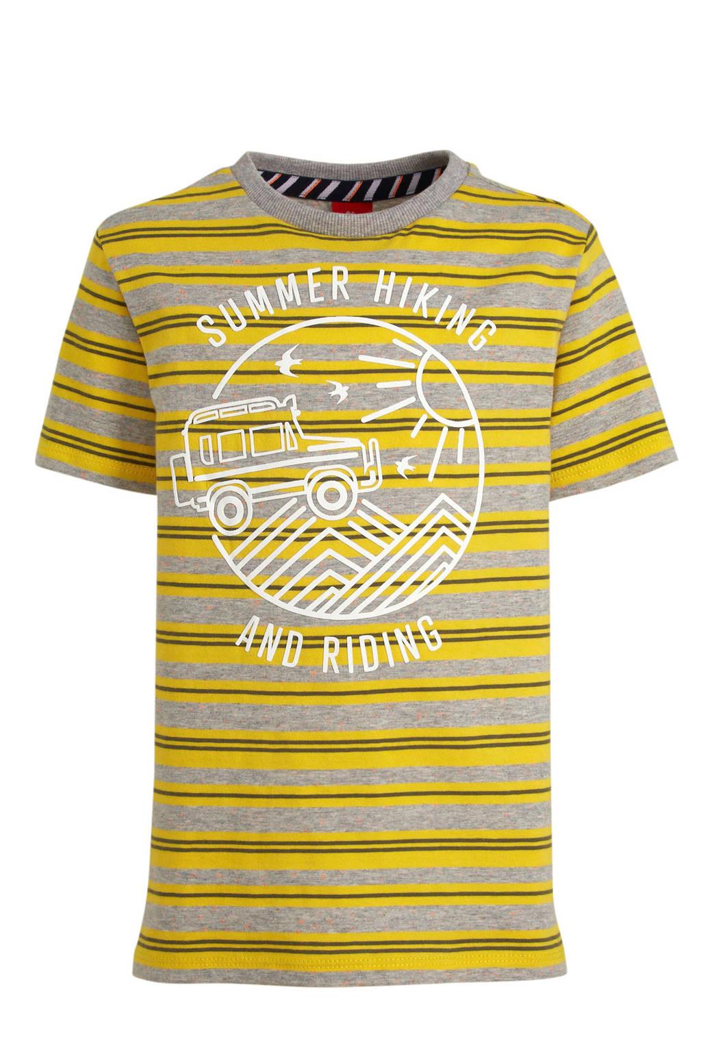 s.Oliver gestreept regular fit T-shirt grijs melange/geel, Grijs melange/geel
