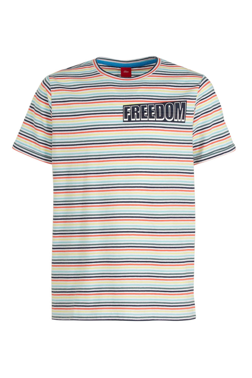 s.Oliver gestreept T-shirt wit/geel/rood, Wit/geel/rood