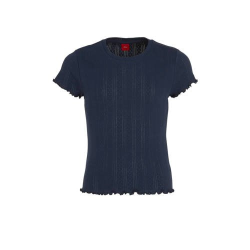 s.Oliver T-shirt met ruches donkerblauw