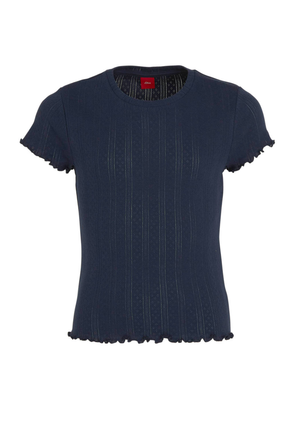 s.Oliver T-shirt met ruches donkerblauw, Donkerblauw