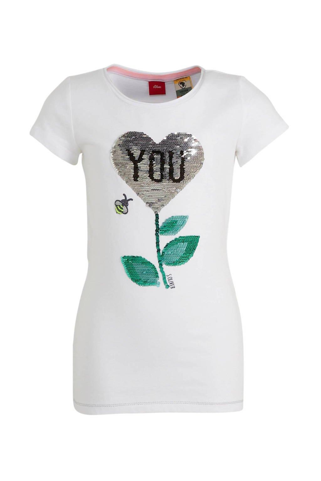 s.Oliver T-shirt met printopdruk en pailletten wit/groen, Wit/groen
