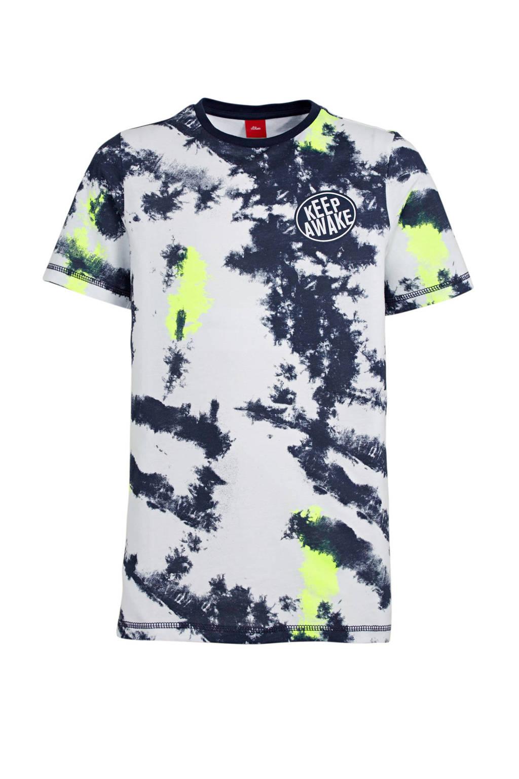 s.Oliver regular fit T-shirt met all over print wit/blauw/geel, Wit/blauw/geel