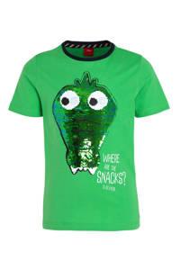 s.Oliver T-shirt met reversible pailletten groen, Groen