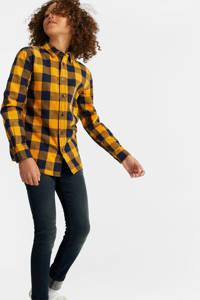 WE Fashion geruit flanellen overhemd blauw, Geel/zwart