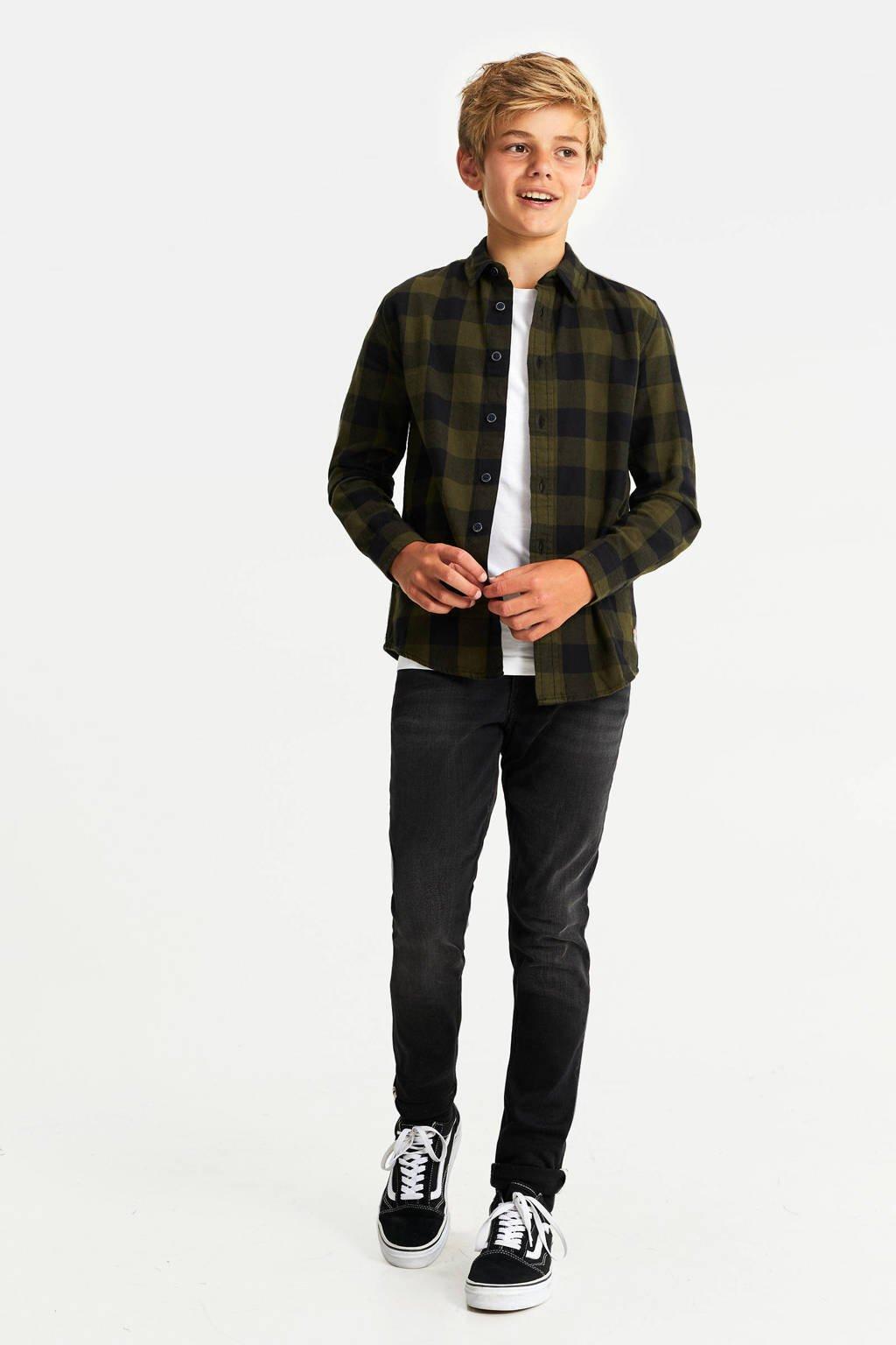 WE Fashion geruit flanellen overhemd donkergroen/zwart, Donkergroen/zwart