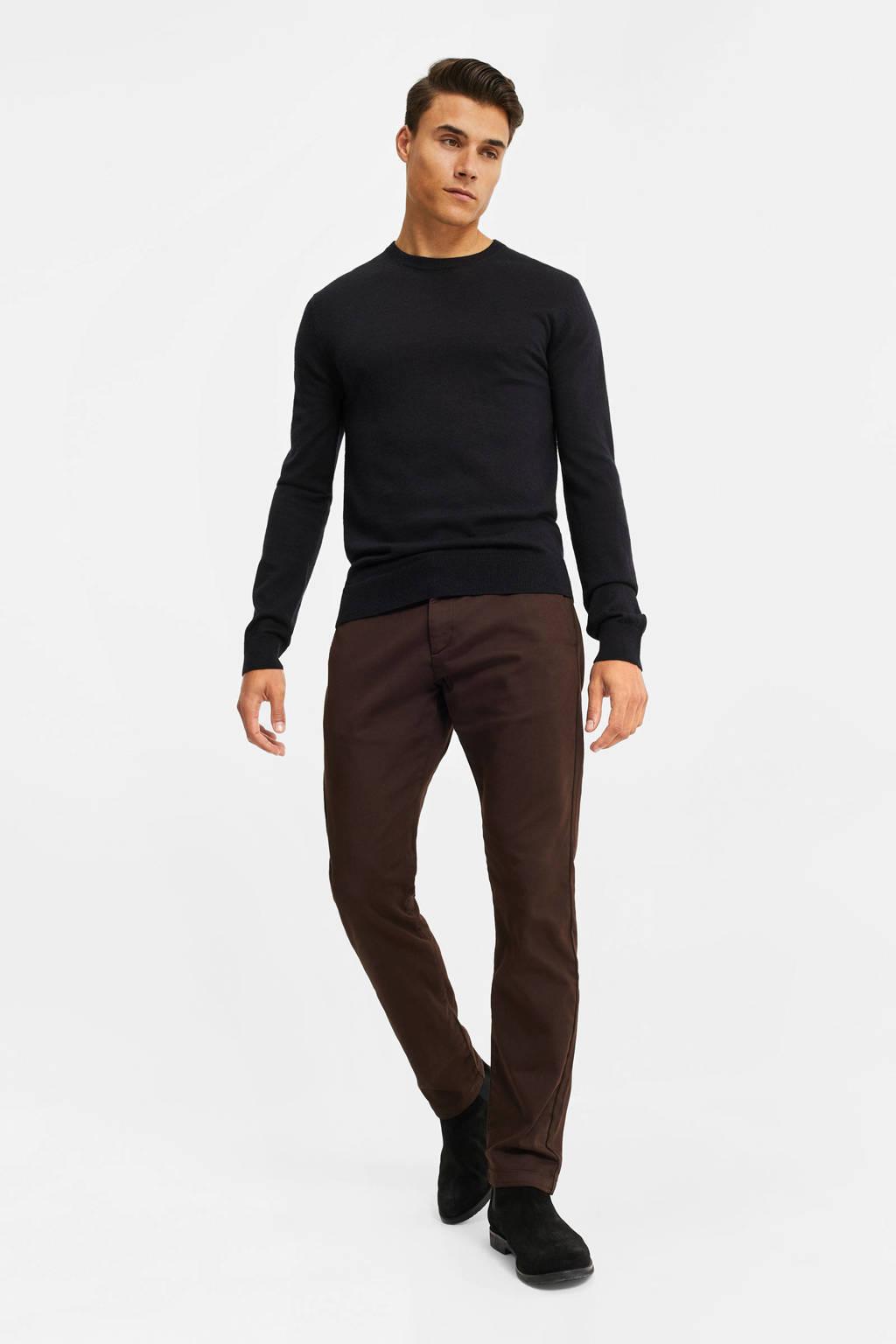 WE Fashion slim fit chino bruin, Donkerbruin
