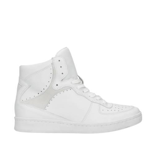 Manfield hoge leren sneakers wit