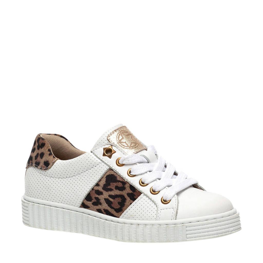 Scapino Groot   leren sneakers wit/panterprint, Wit/bruin