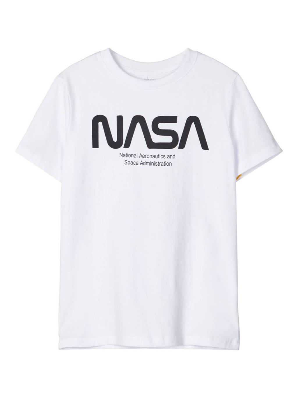 LMTD T-shirt Nasa met tekst wit/zwart, Wit/zwart