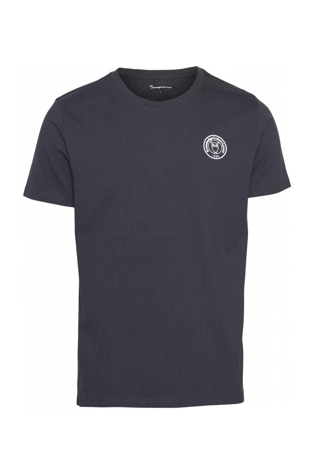 Knowledge Cotton Apparel T-shirt met printopdruk antraciet, Antraciet