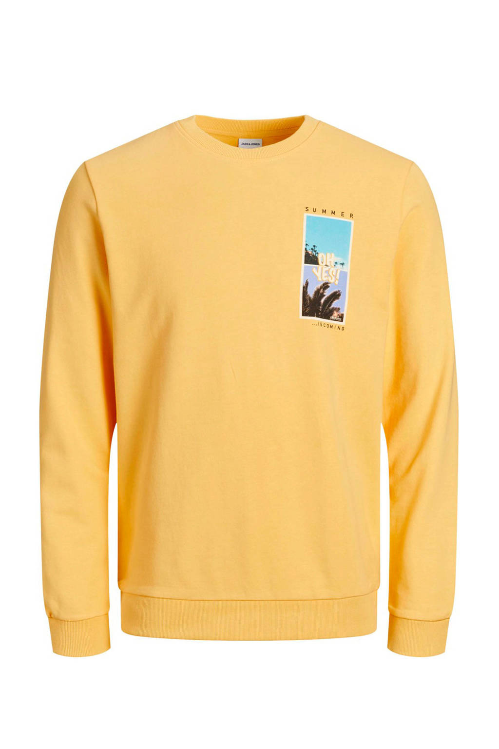 JACK & JONES ORIGINALS sweater met printopdruk geel, Geel