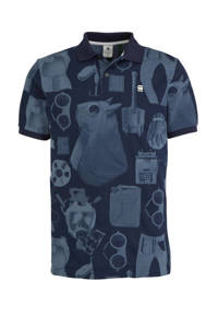 G-Star RAW slim fit polo met all over print donkerblauw/blauw, Donkerblauw/blauw