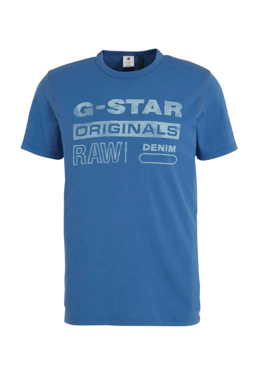 G-Star RAW T-shirt met logo blauw/wit, Blauw/wit